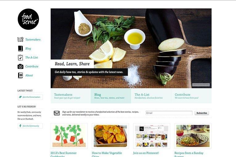 Food Sense - freelance web design inspiration