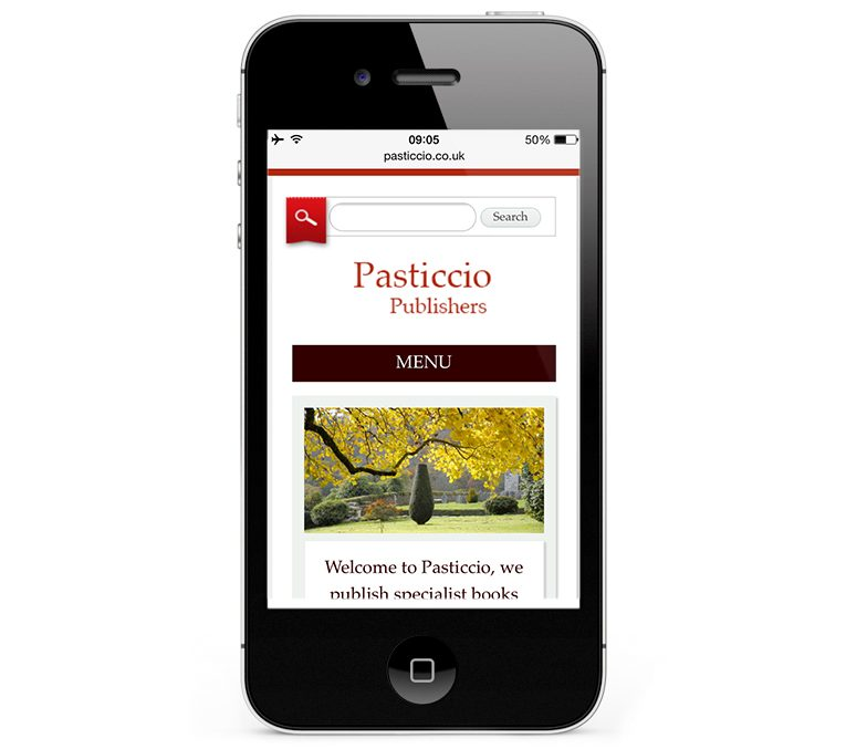 Mobile website design for Pasticcio Publishers Cornwall