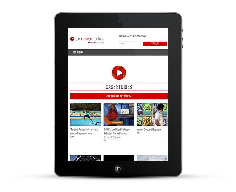 NewsMarket mobile web design, iPads & tablets