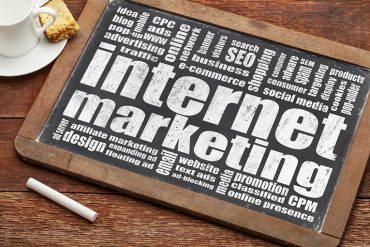 Internet marketing written on chalkboard