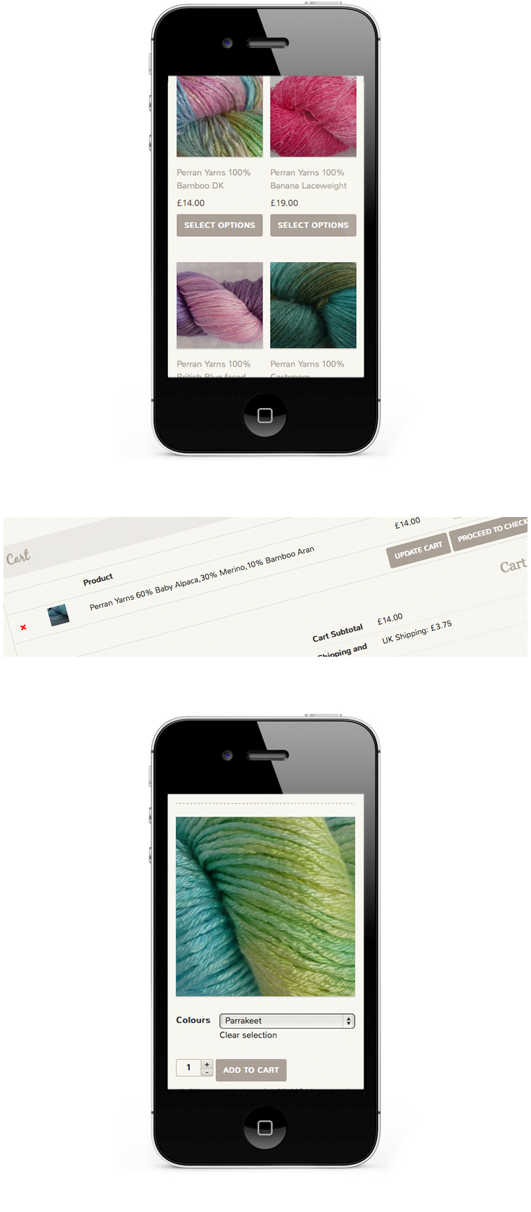 iPhone layout for Gorgeous Yarns by WordPress Designer