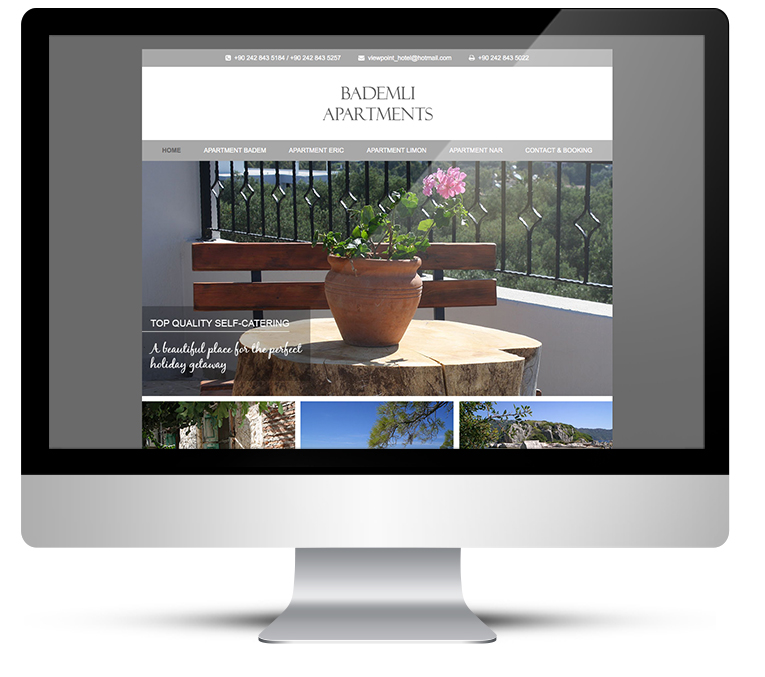 Web design for Bademili Apartments, Turkey