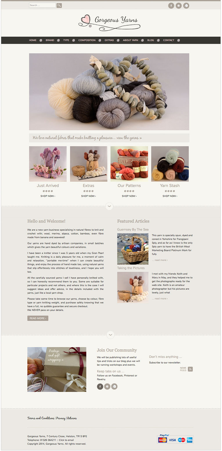 Gorgeous Yarns custom designed online shop