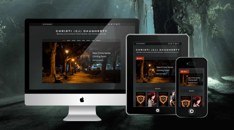 Beautiful dark website for international bestselling author