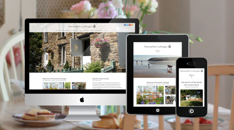 Holiday Property web design for Penwartha Cottages, shown on three screens