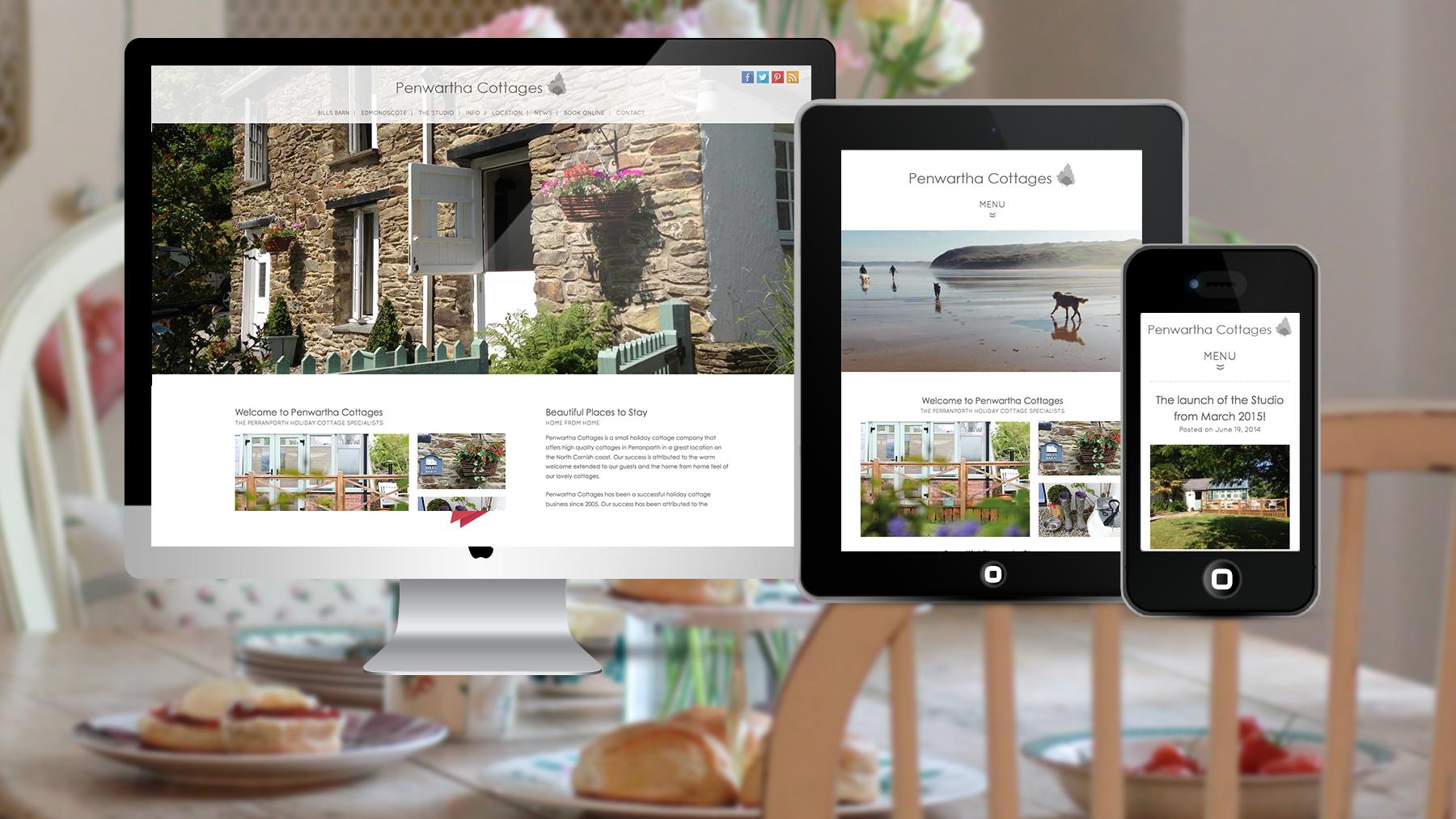 Penwartha Cottages on three screen sizes
