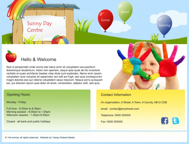 Web design for pre-school or nursery