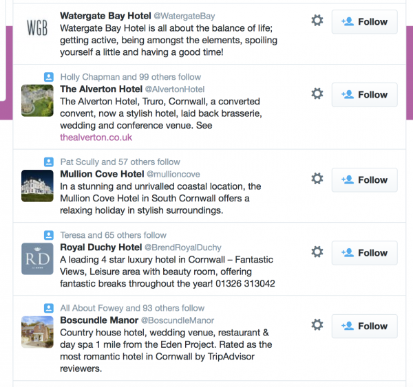 Twitter search for hotels in Cornwall