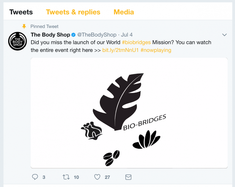 Body Shop Pinned Tweet