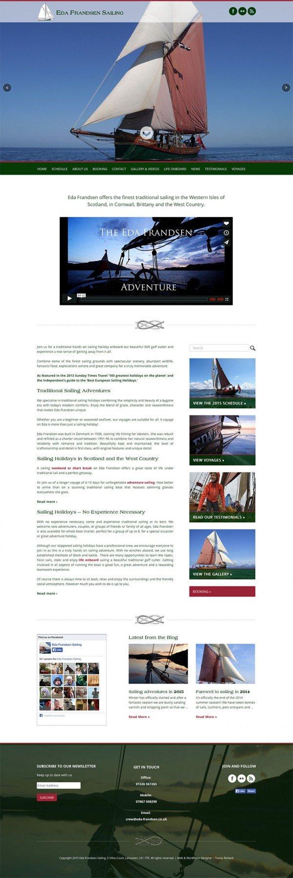 Eda Frandsen Sailing Home Page Design