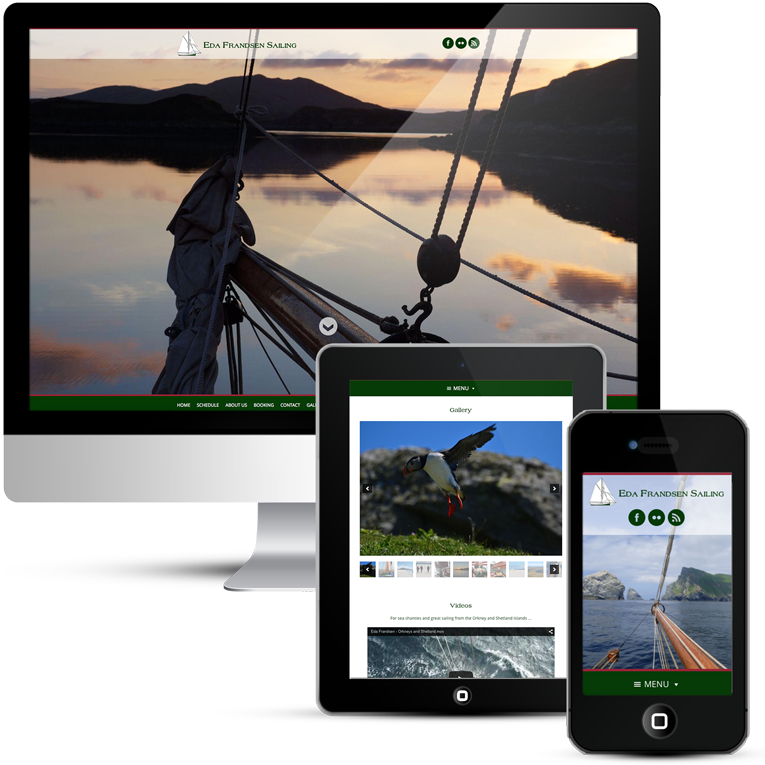 Responsive web design for sailing company