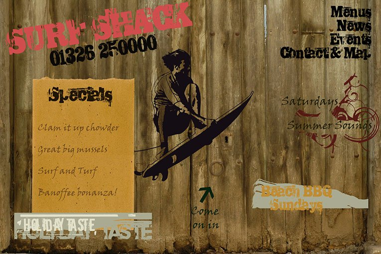 Surf Shack web design, one of my first ever