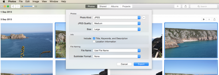 Exporting and resizing images on a mac