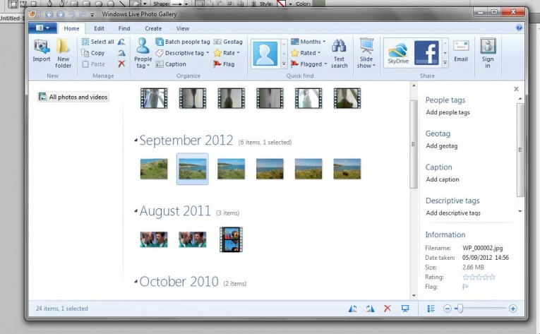 Windows Photo Gallery showing all photos and videos