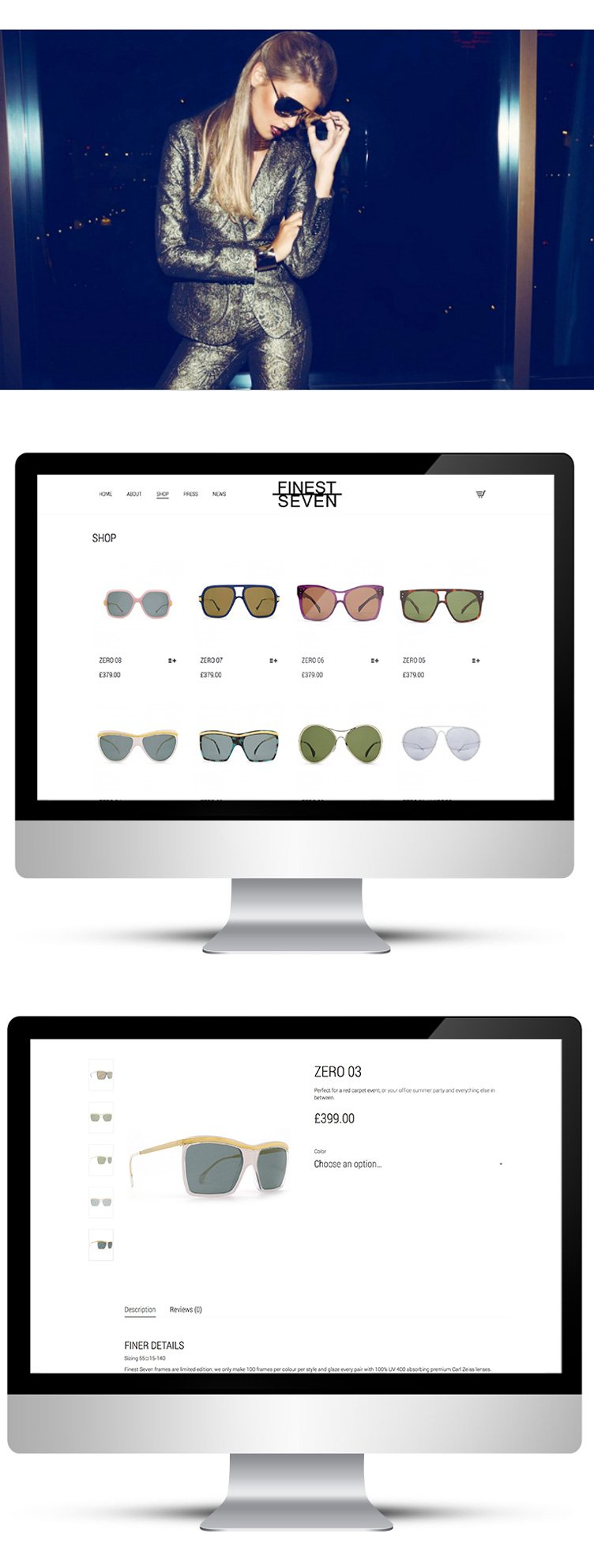 Online store for sunglasses designer in London