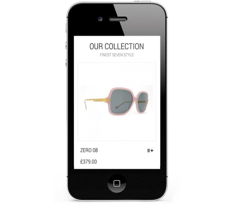 Mobile eCommerce for designer sunglasses