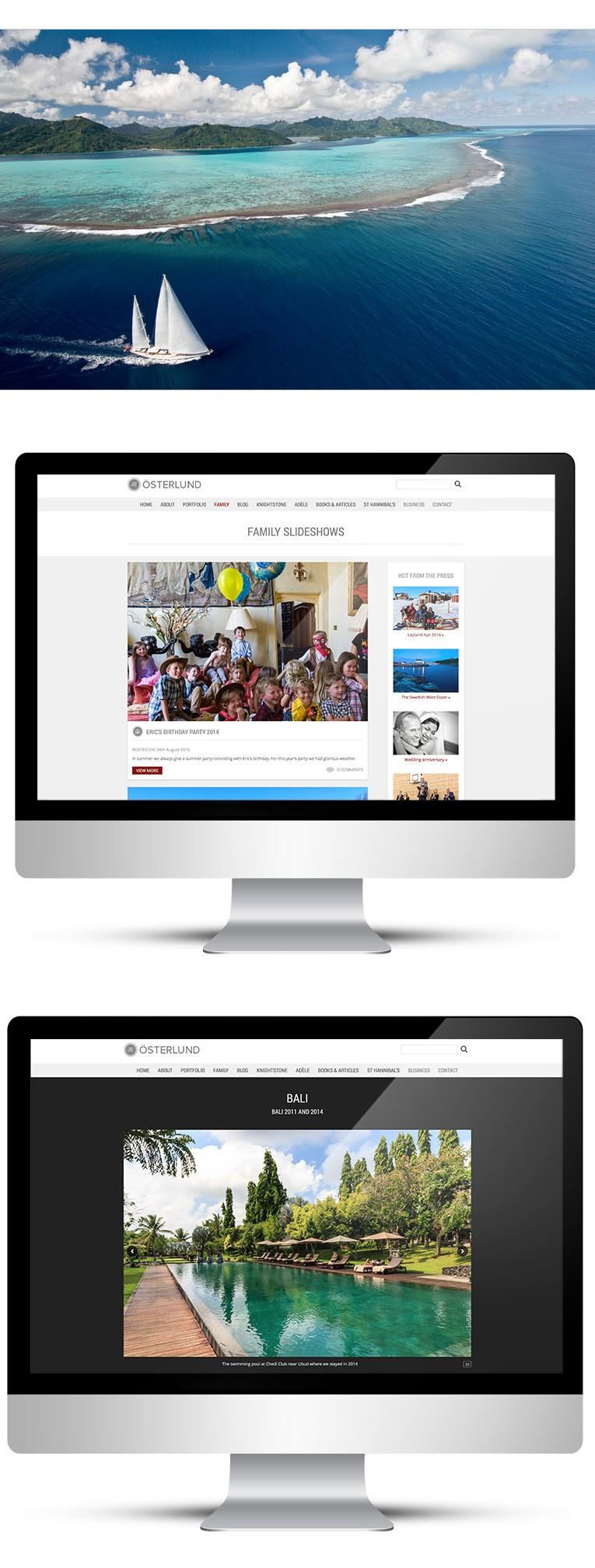 Desktop version of photography portfolio site