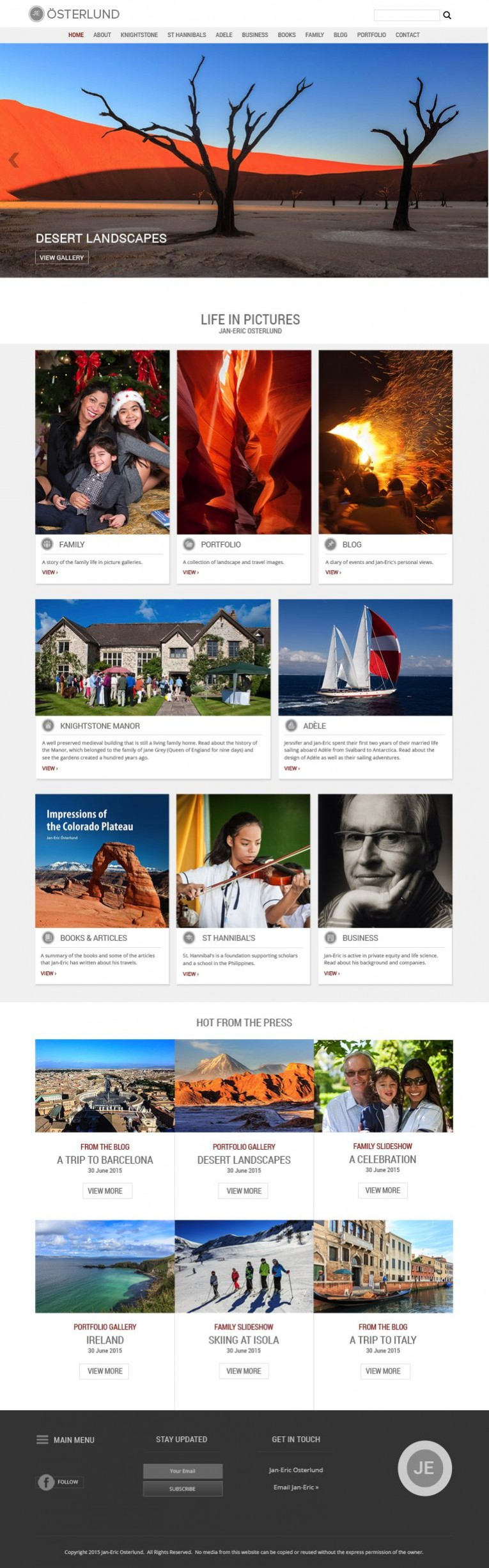 Osterlund home page, fully responsive webdesign