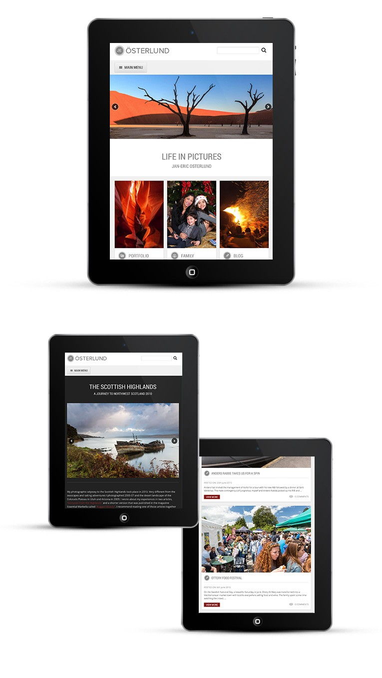 Photography portfolio, iPad and tablet version