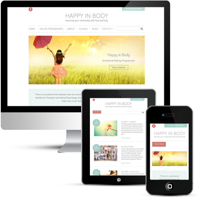 Mobile responsive WordPress Design for Happy in Body