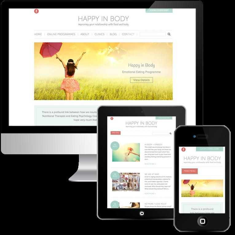 Mobile responsive WordPress Design for Happy in Body