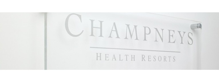 Glass sign for Champneys