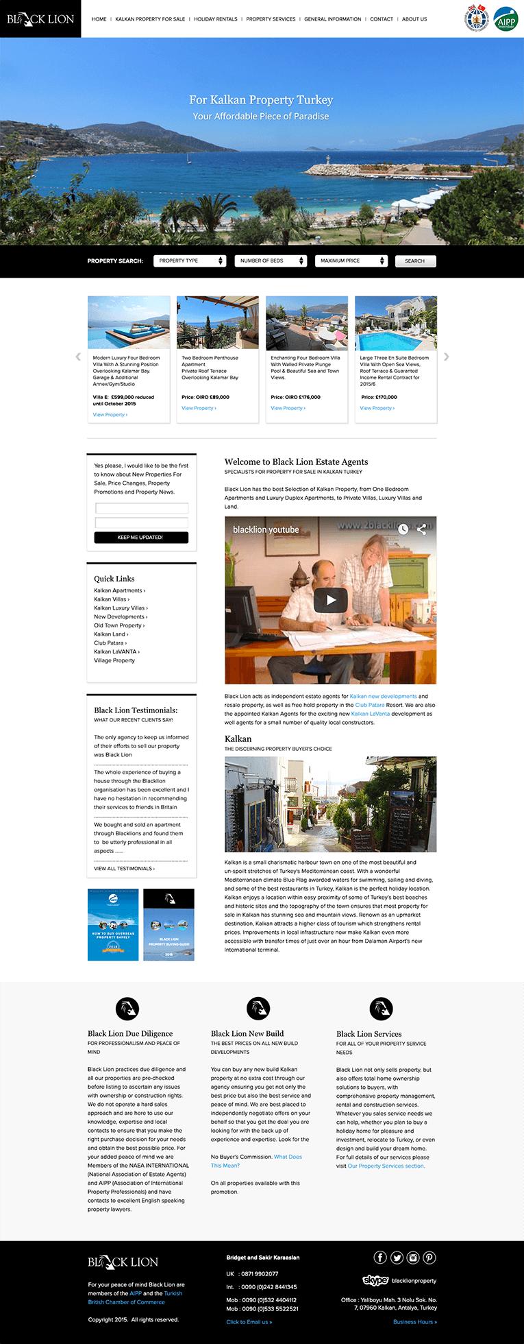 Home page design for Black Lion
