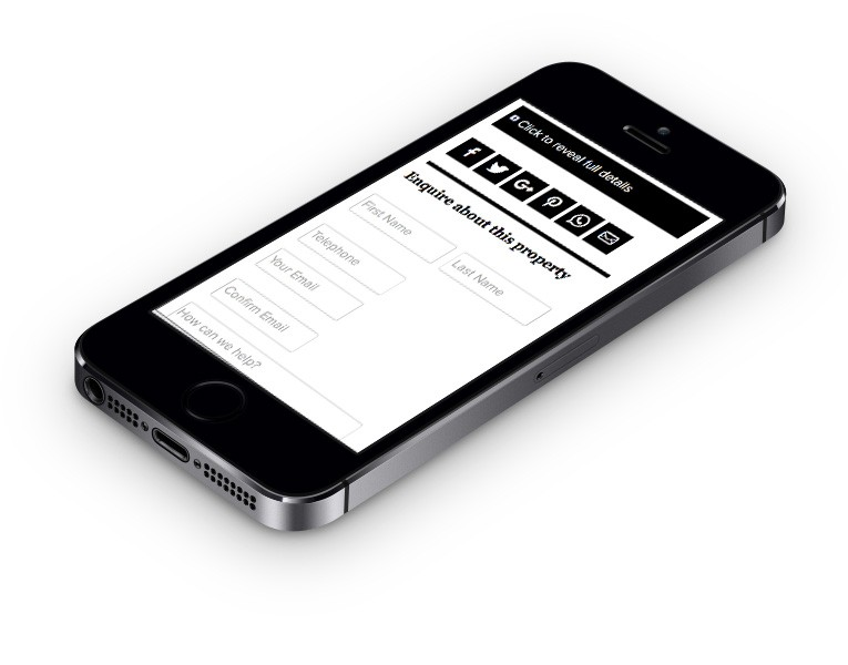 Enquiry form shown on iPhone
