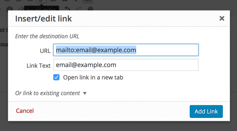The add email link dialogue box