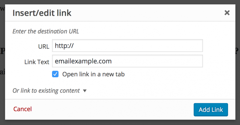 Manually adding the email link to the link dialogue box