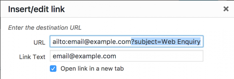 Adding a subject to Email URL