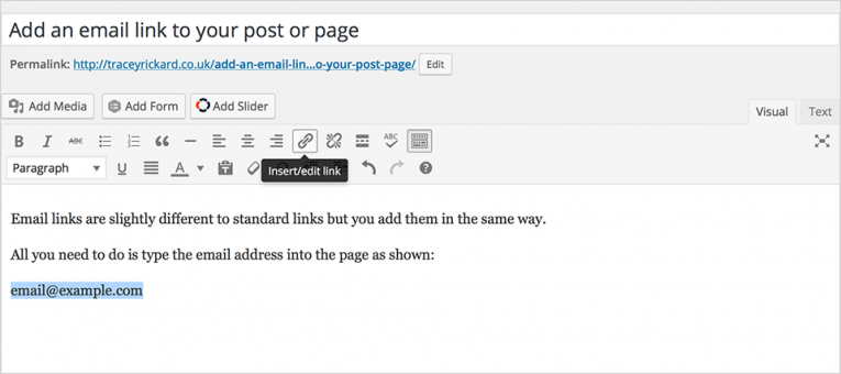 Adding your email link in the WordPress editor