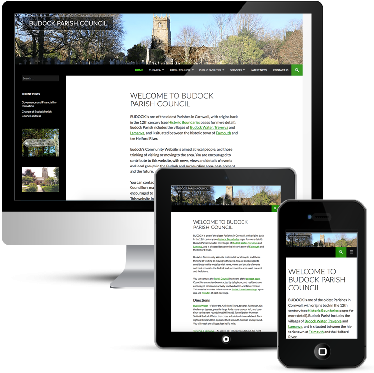 Mobile Responsive website for Budock Parish Council