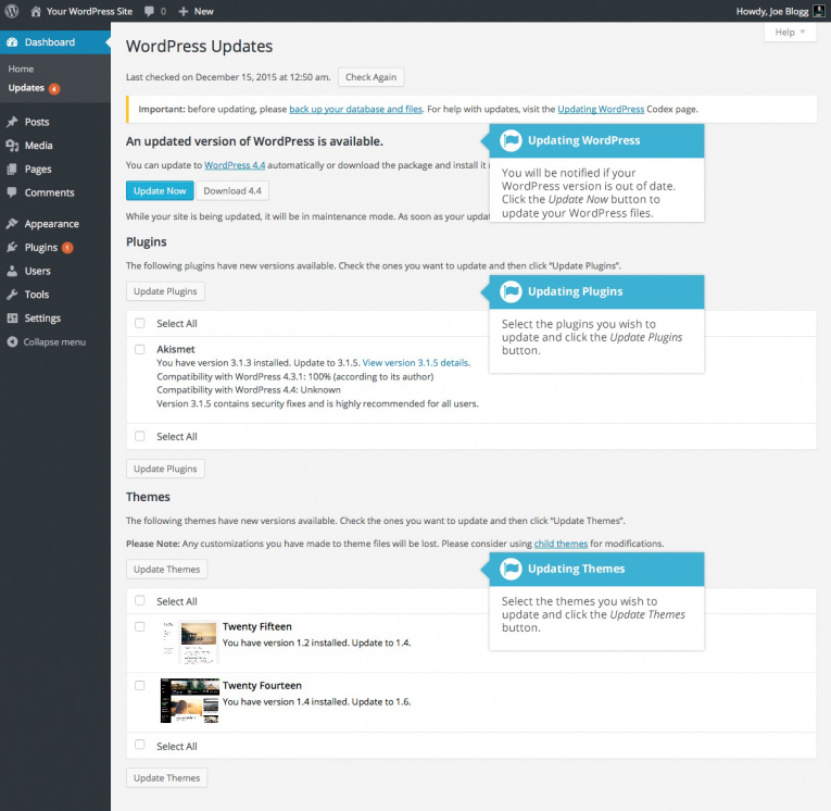 The WordPress Updates Page