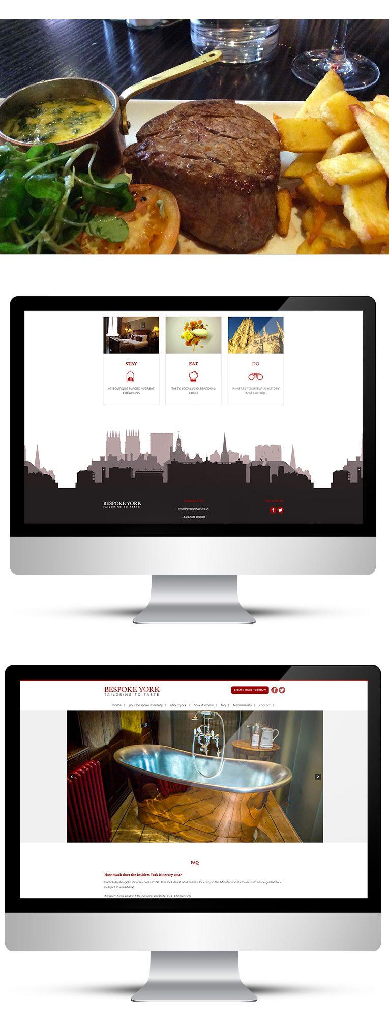 Desktop view, web design for Bespoke York