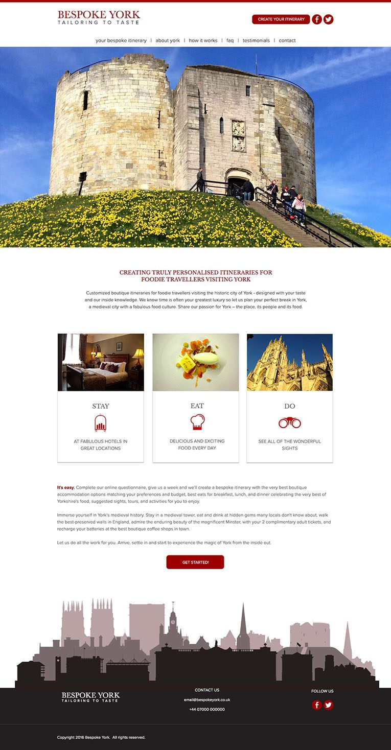 Home Page View, web design Bespoke York