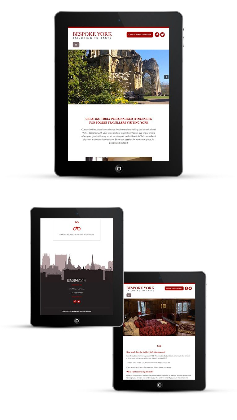 Responsive web design for iPads and Tablets, Bespoke York