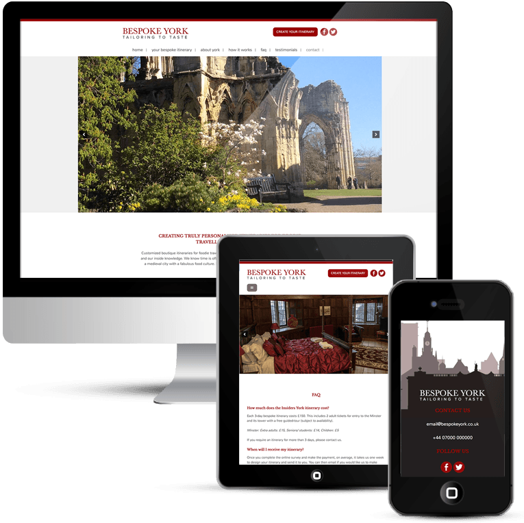 Custom WordPress web design for Bespoke York