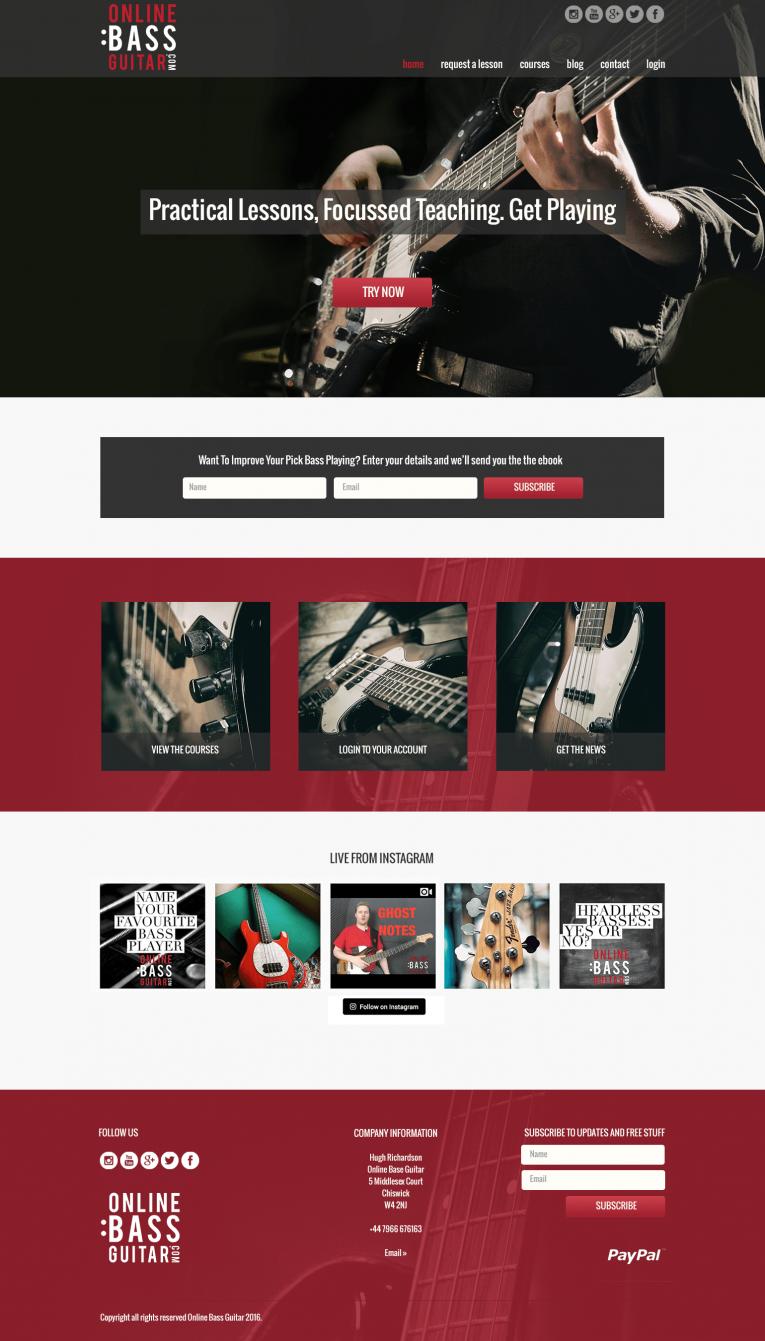Custom WordPress Theme for online bass guitar
