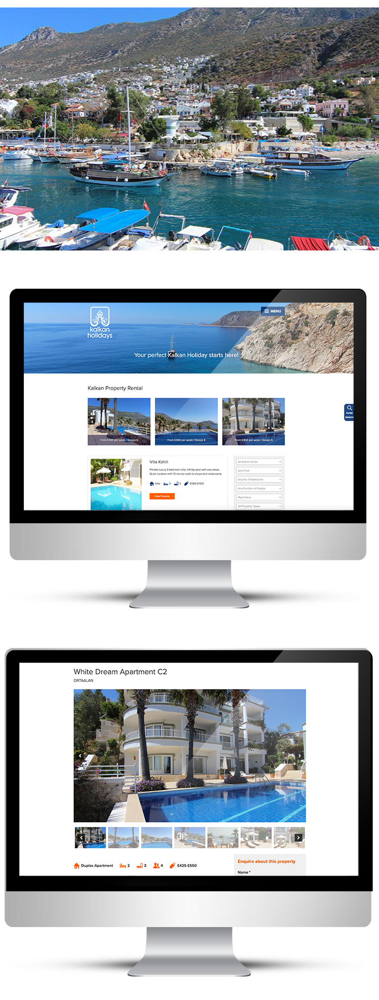 Desktop version, web design for Kalkan Holidays