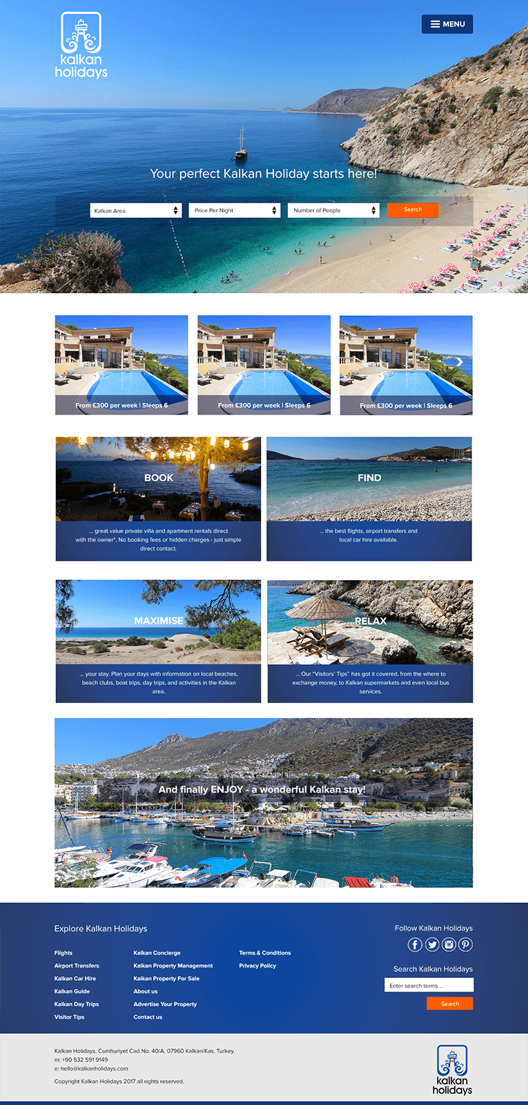 Kalkan Holiday Rentals website design