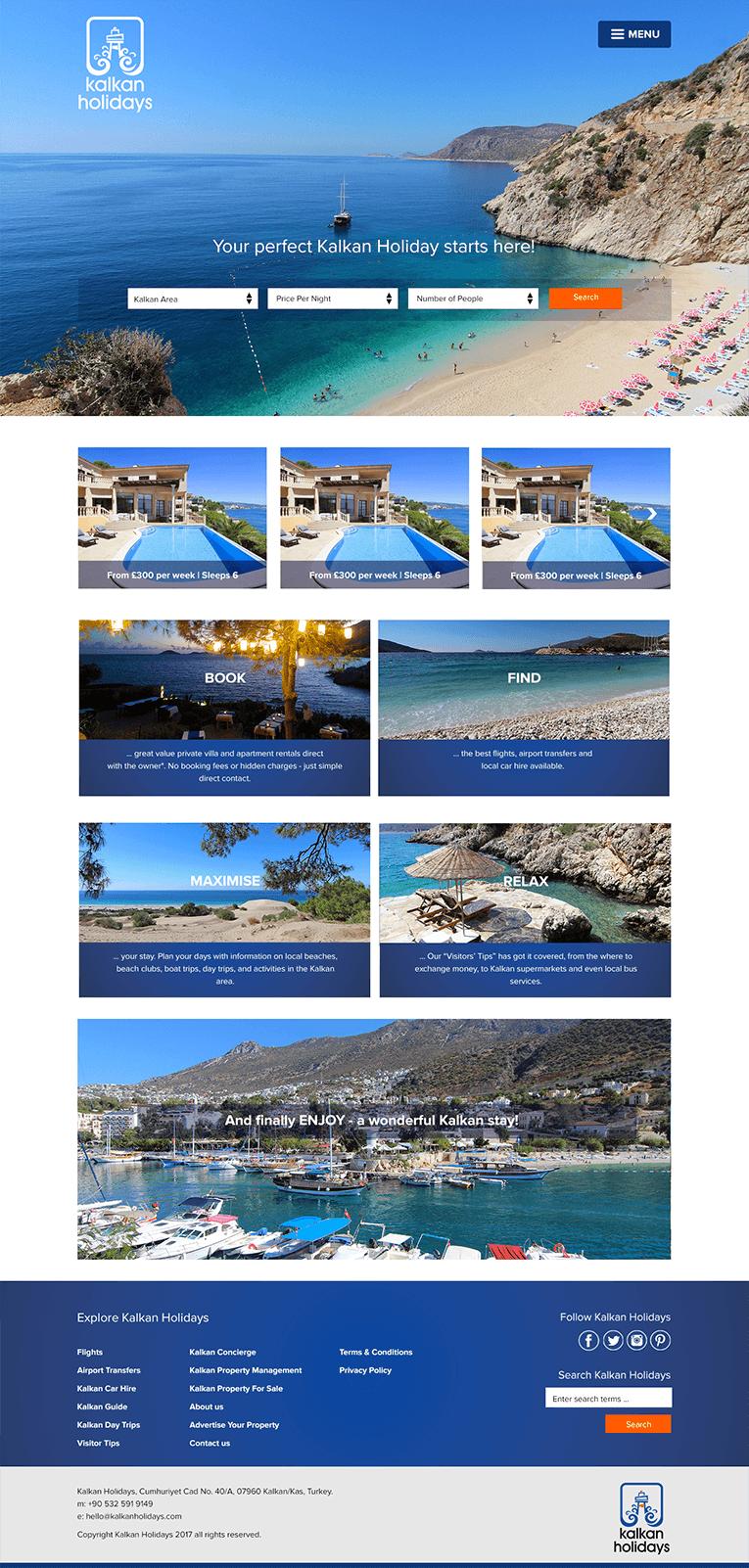 Kalkan Holiday Rentals website design