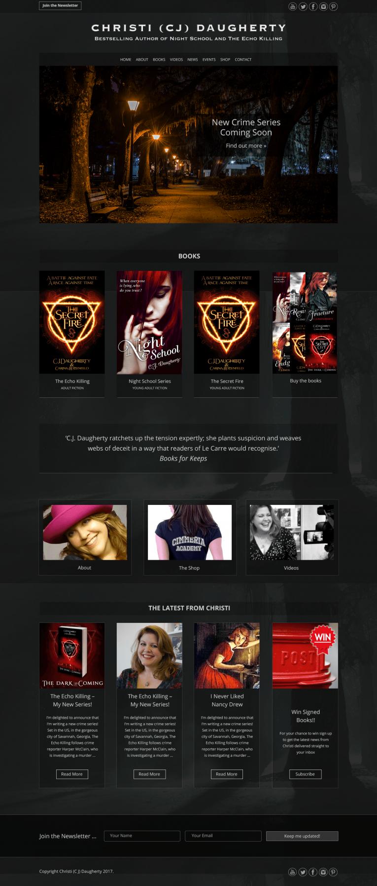 Christi Daugherty desktop homepage design