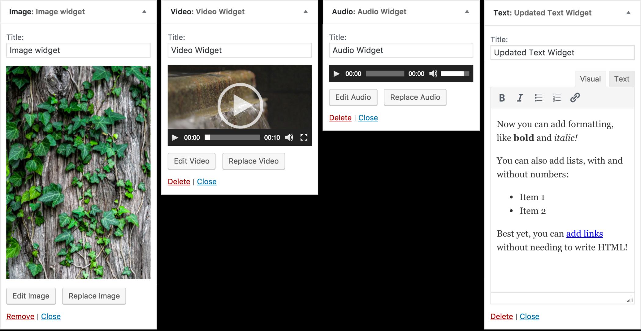 The new WordPress widgets