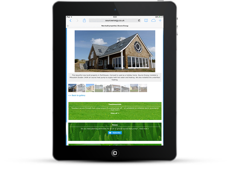 Source Energy web design iPad