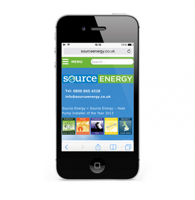 Source Energy WordPress design iPhone