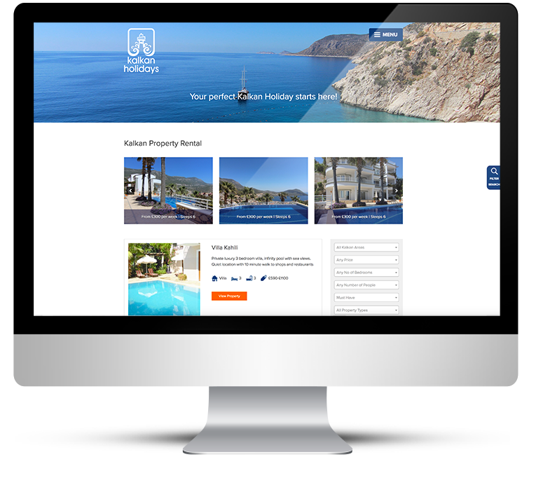Desktop version, web design for Kalkan Holidays