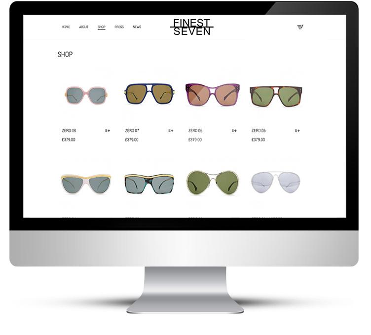 Online store for sunglasses designer in London