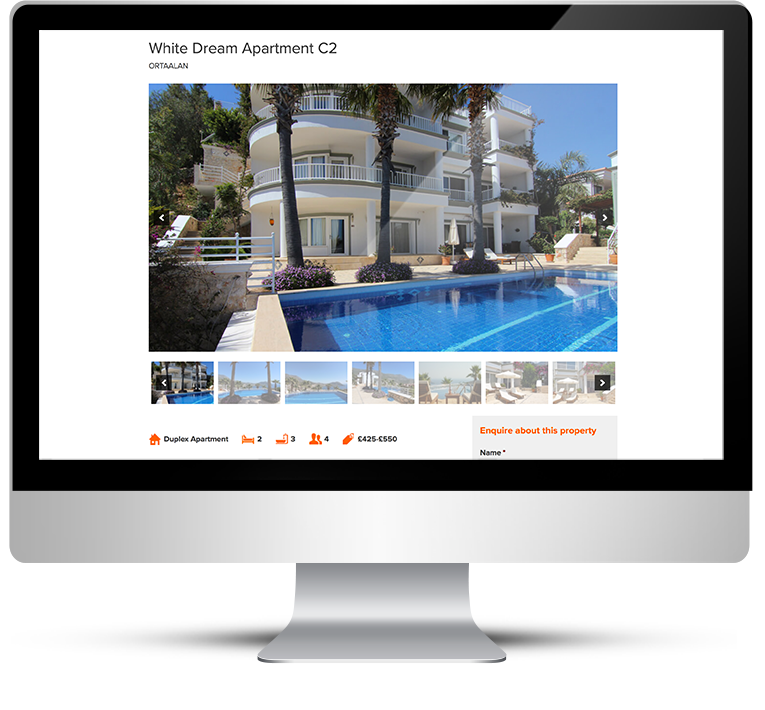 Desktop version, WordPress design for Kalkan Holidays