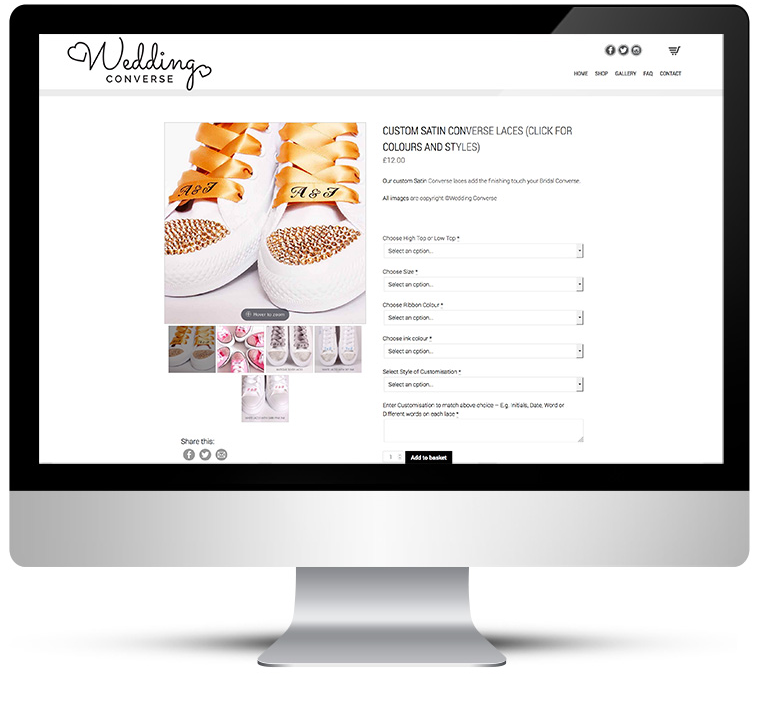 Wedding Converse Custom Woocommerce WordPress Design